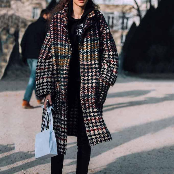 Chic Lapel Collar Loose Vintage Check Long Coat