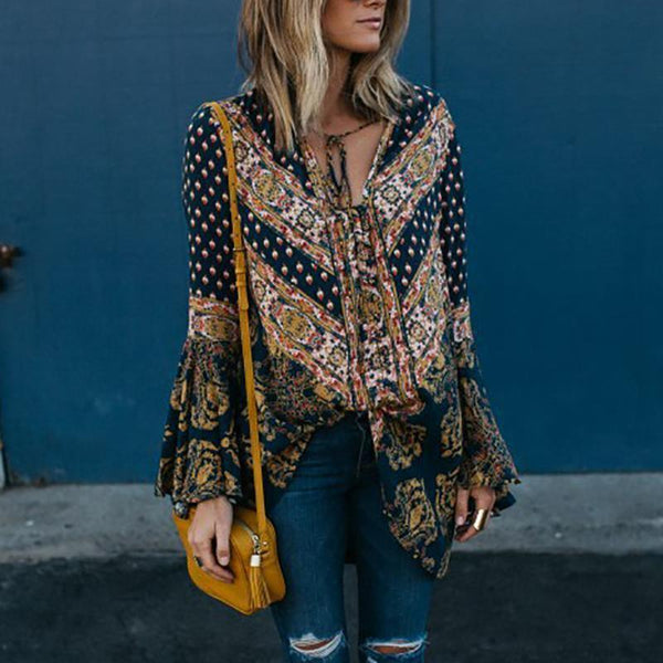 Sexy V Neck Retro Printed Stitching Ruffled Shirt