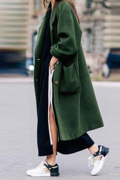 Women Plain Woolen Coat  Warm Outerwear With Pocket