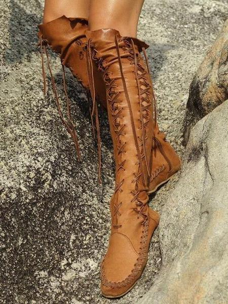 Solid Color Round Head Flat Heel Over Knee Boots