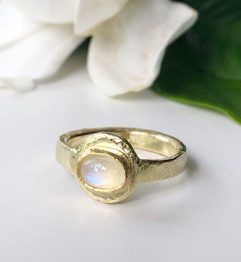 Gold Moonstone Ring