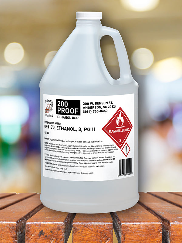 200 PROOF ETHANOL, USP-GRADE (PALMETTO DISTILLERY) - 1 GALLON