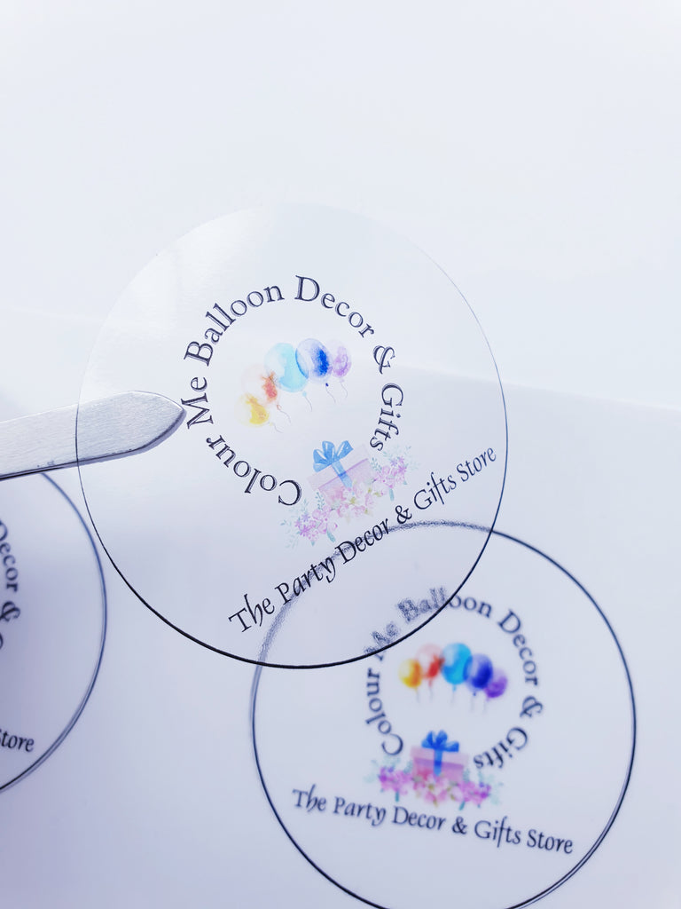 Clear Logo Stickers - colour-me-balloon-decor-gifts