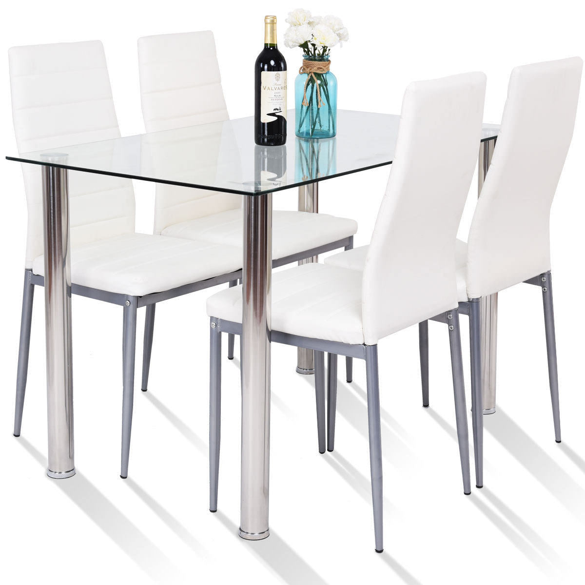 5 Piece Dining Set Table and 4 Chairs Glass Metal Kitchen Breakfast  Furniture