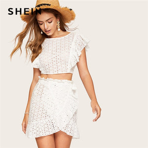 52b5880bee SHEIN White Lace Eyelet Ruffle Backless Knot Crop Top and Wrap Belted Mini  Skirt Set Women Summer Fitted Boho Sexy Two Piece Set