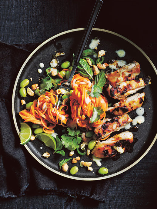 CHARRED MISO CHICKEN  with sweet potato noodle salad