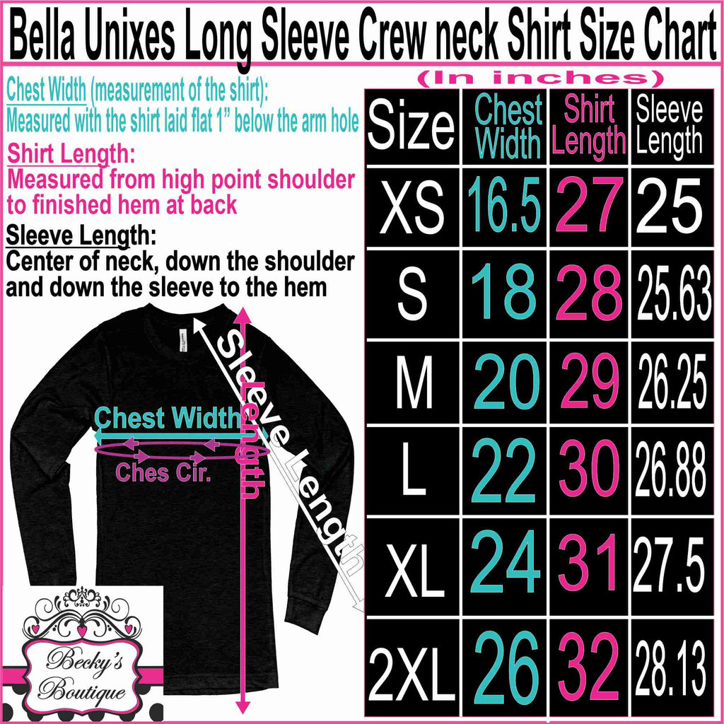 Mens Long Sleeve Unisex size chart