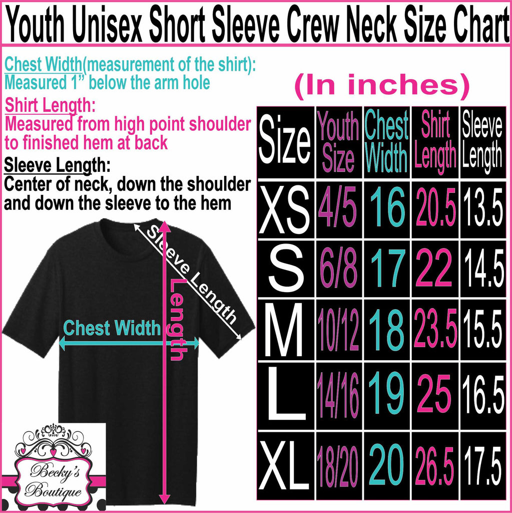 Youth unisex t-shirt sizing chart