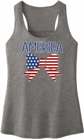 American Flag Bow Tie - Ladies Racerback Tank Ladies Tank Beckys-Boutique.com Extra Small