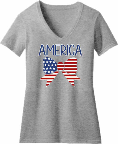 American Flag Bow Tie - Ladies Short Sleeve V-Neck Shirt-Ladies Short Sleeve V-neck-Becky's Boutique-Extra Small-Beckys-Boutique.com