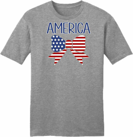 American Flag Bow Tie -Unisex Short Sleeve Crew-Neck Shirt-Unisex Short Sleeve-Becky's Boutique-Extra Small-Beckys-Boutique.com
