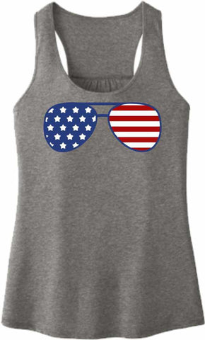 American Flag Glasses - Ladies Racerback Tank Ladies Tank Beckys-Boutique.com Extra Small