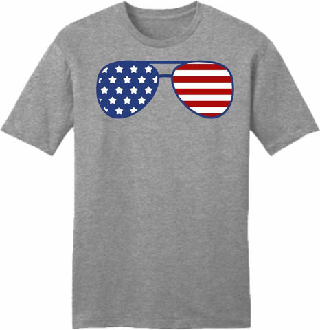 American Flag Glasses - Ladies Short Sleeve Crew-Neck-Unisex Short Sleeve Crew-Neck-Becky's Boutique-Extra Small-Beckys-Boutique.com