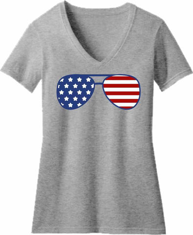 American Flag Glasses - Ladies Short Sleeve V-Neck Short Sleeve V-Neck Beckys-Boutique.com Extra Small