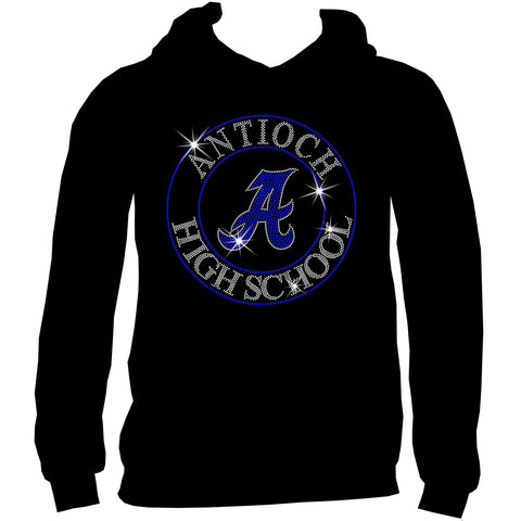 Antioch High School Holographic Spangle Sparkle Bling Shirt, tank or hoodie-LS Shirt, SS Shirt, Racerback tank and hoodie-Becky's Boutique-S-Adult Hoodie Sweatshirt-Black-Beckys-Boutique.com