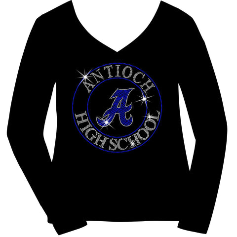 Antioch High School Holographic Spangle Sparkle Bling Shirt, tank or hoodie-LS Shirt, SS Shirt, Racerback tank and hoodie-Becky's Boutique-XS-Long Sleeve V-Neck-Black-Beckys-Boutique.com