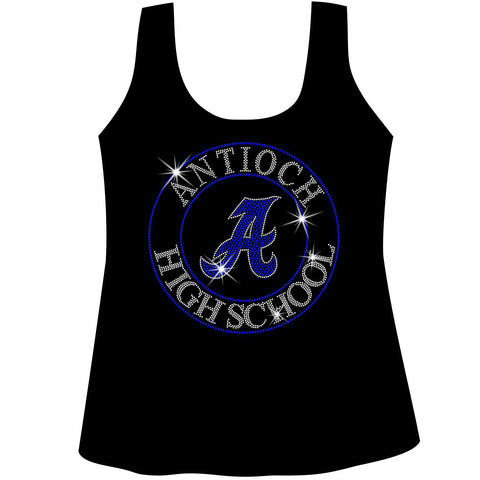 Antioch High School Holographic Spangle Sparkle Bling Shirt, tank or hoodie-LS Shirt, SS Shirt, Racerback tank and hoodie-Becky's Boutique-XS-Racerback Tank-Black-Beckys-Boutique.com