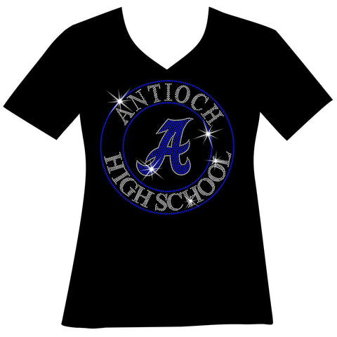 Antioch High School Holographic Spangle Sparkle Bling Shirt, tank or hoodie-LS Shirt, SS Shirt, Racerback tank and hoodie-Becky's Boutique-XS-Short Sleeve V-Neck-Black-Beckys-Boutique.com