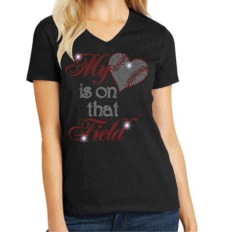 Baseball-My heart is on that field Spangle Bling shirt - Ladies Short Sleeve V-Neck Short Sleeve V-Neck Becky's Boutique Extra Small