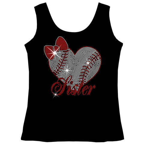 Baseball Sister Heart-Youth Short Sleeve Crew Neck, Long Sleeve Crew Neck, Girls Tank Top, Youth Hooded Sweatshirt-Youth LS, SS, tank and Hoodie-Becky's Boutique-XS-Girls Tank Top-Beckys-Boutique.com