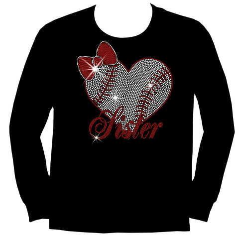 Baseball Sister Heart-Youth Short Sleeve Crew Neck, Long Sleeve Crew Neck, Girls Tank Top, Youth Hooded Sweatshirt-Youth LS, SS, tank and Hoodie-Becky's Boutique-XS-Long Sleeve Crew Neck-Beckys-Boutique.com