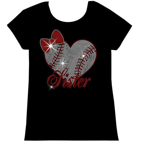 Baseball Sister Heart-Youth Short Sleeve Crew Neck, Long Sleeve Crew Neck, Girls Tank Top, Youth Hooded Sweatshirt-Youth LS, SS, tank and Hoodie-Becky's Boutique-XS-Short Sleeve Crew Neck-Beckys-Boutique.com