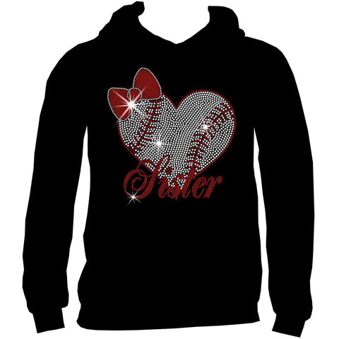 Baseball Sister Heart-Youth Short Sleeve Crew Neck, Long Sleeve Crew Neck, Girls Tank Top, Youth Hooded Sweatshirt-Youth LS, SS, tank and Hoodie-Becky's Boutique-XS-Youth Hooded Sweatshirt-Beckys-Boutique.com