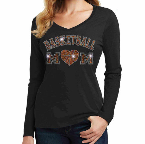Basketball-Heart basketball mom - Ladies Long Sleeve V-Neck Ladies Long Sleeve V-neck Becky`s Boutique Extra Small