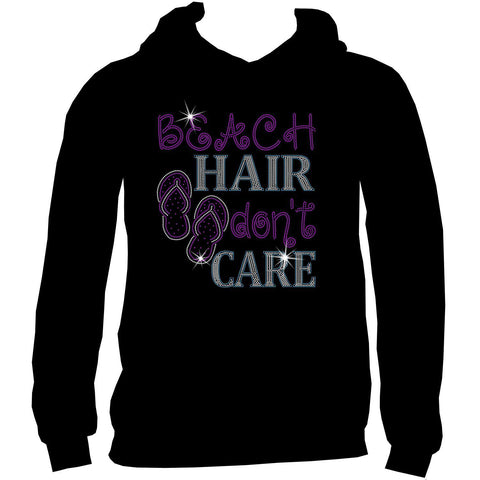 Beach Hair Don't Care Ladies Holographic Spangle Sparkle Long Sleeve, Short Sleeve Shirt, Tank and Hooded Sweatshirt-LS Shirt, SS Shirt, Racerback tank and hoodie-Becky's Boutique-XS-Adult Hooded Sweatshirt-Beckys-Boutique.com
