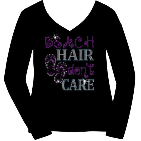 Beach Hair Don't Care Ladies Holographic Spangle Sparkle Long Sleeve, Short Sleeve Shirt, Tank and Hooded Sweatshirt-LS Shirt, SS Shirt, Racerback tank and hoodie-Becky's Boutique-XS-Long Sleeve V-Neck-Beckys-Boutique.com