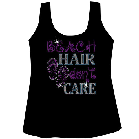 Beach Hair Don't Care Ladies Holographic Spangle Sparkle Long Sleeve, Short Sleeve Shirt, Tank and Hooded Sweatshirt-LS Shirt, SS Shirt, Racerback tank and hoodie-Becky's Boutique-XS-Racerback Tank-Beckys-Boutique.com