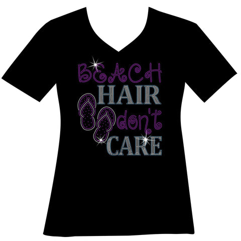 Beach Hair Don't Care Ladies Holographic Spangle Sparkle Long Sleeve, Short Sleeve Shirt, Tank and Hooded Sweatshirt-LS Shirt, SS Shirt, Racerback tank and hoodie-Becky's Boutique-XS-Short Sleeve V-Neck-Beckys-Boutique.com