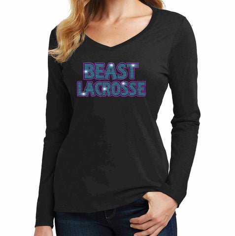 Beast Lacrosse - Ladies Long Sleeve V-Neck Ladies Long Sleeve V-neck Becky`s Boutique Extra Small