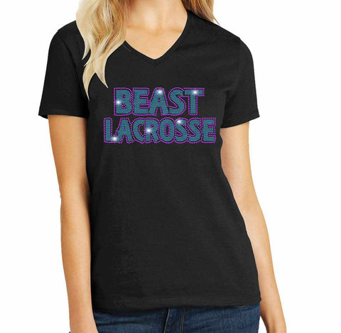 Beast Lacrosse - Ladies Short Sleeve V-Neck Ladies Short Sleeve V-neck Becky`s Boutique Extra Small