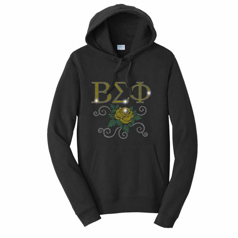 Beta Sigma Phi Yellow Rose - Hoodie Sweatshirt Hoodie Sweatshirt Becky`s Boutique Extra Small