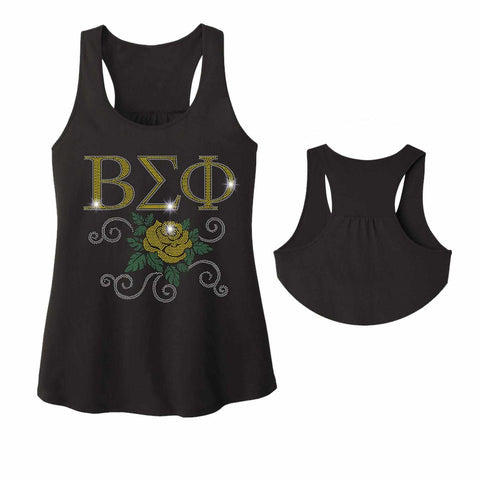 Beta Sigma Phi Yellow Rose - Ladies Racerback Tank ladies racerback tank Becky`s Boutique Extra Small