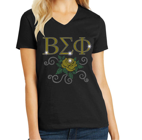 Beta Sigma Phi Yellow Rose Spangle Bling shirt Colleges Becky's Boutique Extra Small Short Sleeve V-Neck