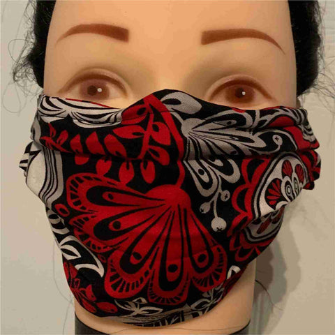 Image of Black and Red Flowers Print Face Mask, Adult and Child Sizes, For dust, travel, pet grooming, gardening and medical. Washable, Reusable with adjustable nose piece Face Mask Becky's Boutique Adult