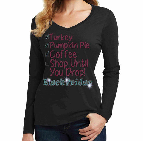 Black Friday Shopping List Spangle Bling shirt - Ladies Long Sleeve V-Neck Ladies Long Sleeve V-neck Becky`s Boutique Extra Small