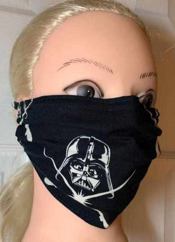 Image of Black Star Wars Face Mask, Adult and Child Sizes, For dust, travel, pet grooming and gardening. Washable, Reusable with adjustable nose Face Mask Becky's Boutique