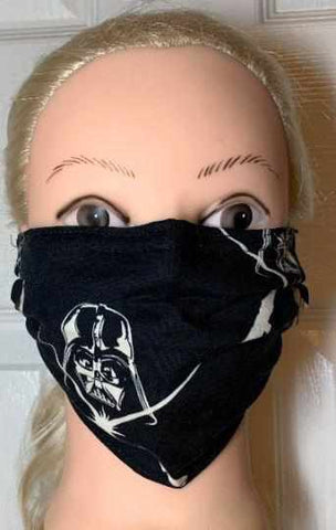 Image of Black Star Wars Face Mask, Adult and Child Sizes, For dust, travel, pet grooming and gardening. Washable, Reusable with adjustable nose Face Mask Becky's Boutique Adult