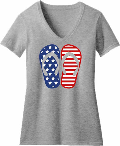 Blue and Red Flip Flops - Ladies Short Sleeve V-Neck Ladies Short Sleeve V-Neck Beckys-Boutique.com Extra Small