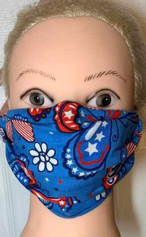 Image of Blue Butterfly Print Face Mask, Adult and Child Sizes, For dust, travel, pet grooming, gardening and medical. Washable, Reusable with adjustable nose piece Face Mask Becky's Boutique