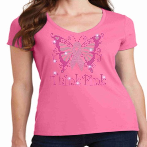 Breast Cancer Awareness - Ladies Short Sleeve Shirt Pink Causes & Awareness Becky's Boutique Extra Small Butterfly
