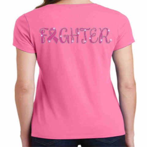 Image of Breast Cancer Awareness - Ladies Short Sleeve Shirt Pink Causes & Awareness Becky's Boutique Extra Small Fighter