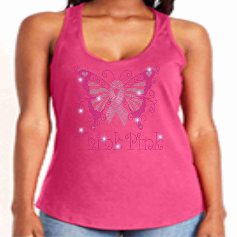 Image of Breast Cancer Awareness - Ladies Tank Pink Causes & Awareness Becky's Boutique Extra Small Butterfly