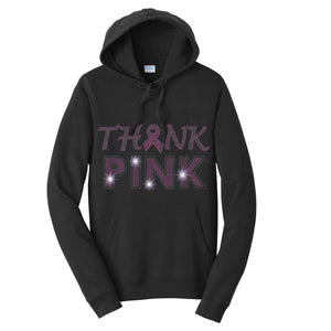 Breast Cancer Awareness- Think Pink Spangle Rhinestone Bling shirt - Hoodie Hoodie Becky's Boutique Extra Small