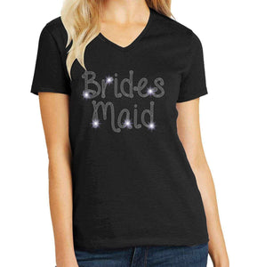 Bride's Maid Wedding Spangle Rhinestone Bling shirt - available in adult, youth, short, long sleeve, tank or hoodie sweatshirt Weddings Becky's Boutique Womens Extra-small Womens short sleeve V-neck