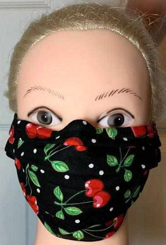 Image of Cherry Print Face Mask , Adult and Child Sizes, For dust, travel, pet grooming and gardening. Washable, Reusable with adjustable nose Face Mask Becky's Boutique Adult