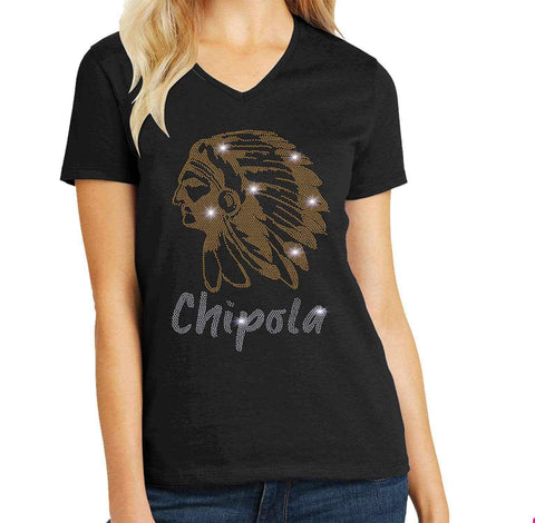 Chipola College Indians Spangle Rhinestone Bling shirt - available in adult, youth, short, long sleeve, tank or hoodie sweatshirt Colleges Becky's Boutique Womens Extra-small Womens short sleeve V-neck